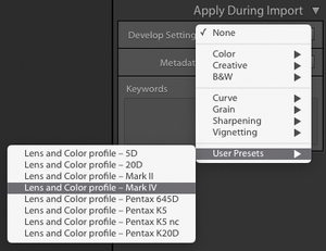Lightroom Classic 9.2, Import, User Preferences