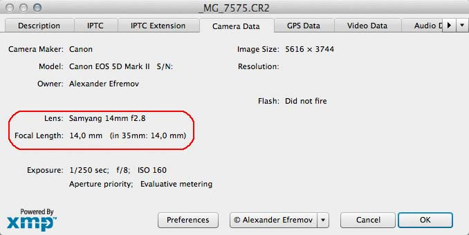 Окно Информация о файле (File Info) программ Photoshop и Bridge