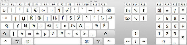 русская клавиатура, клавиши Shift Option