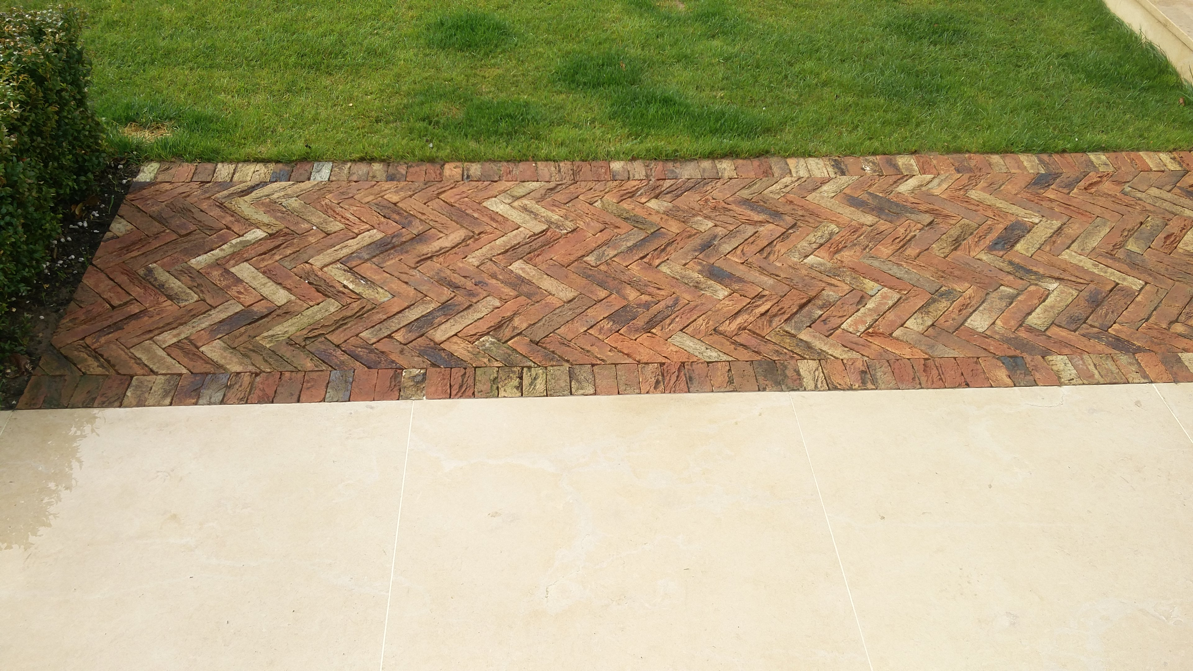 Herringbone brickwork path