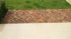 Herringbone brickwork path