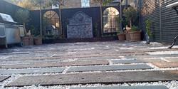 granite, old railway sleepers, white