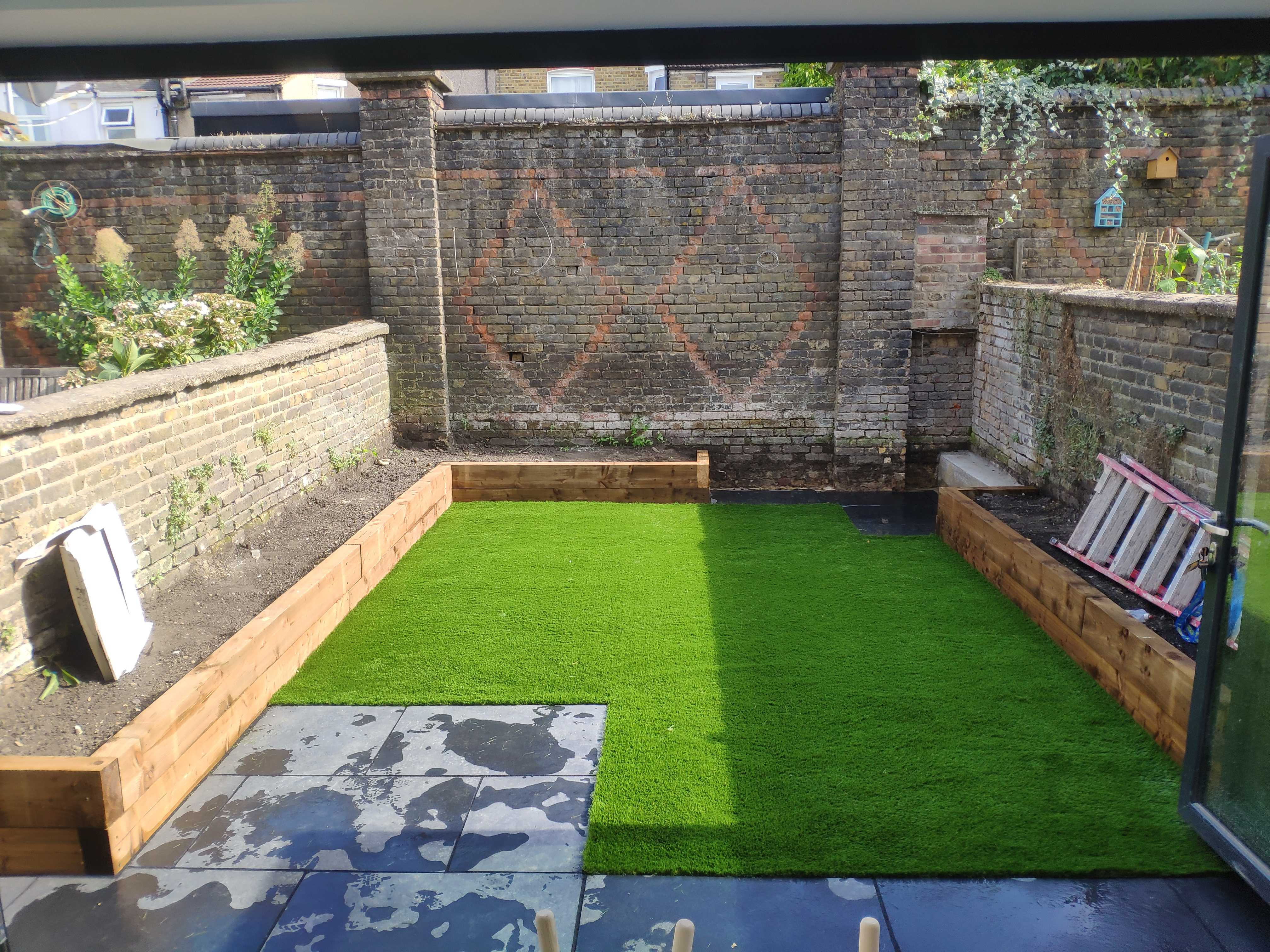 simple garden with artificial grass