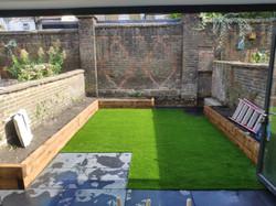 simple garden with artificial grass