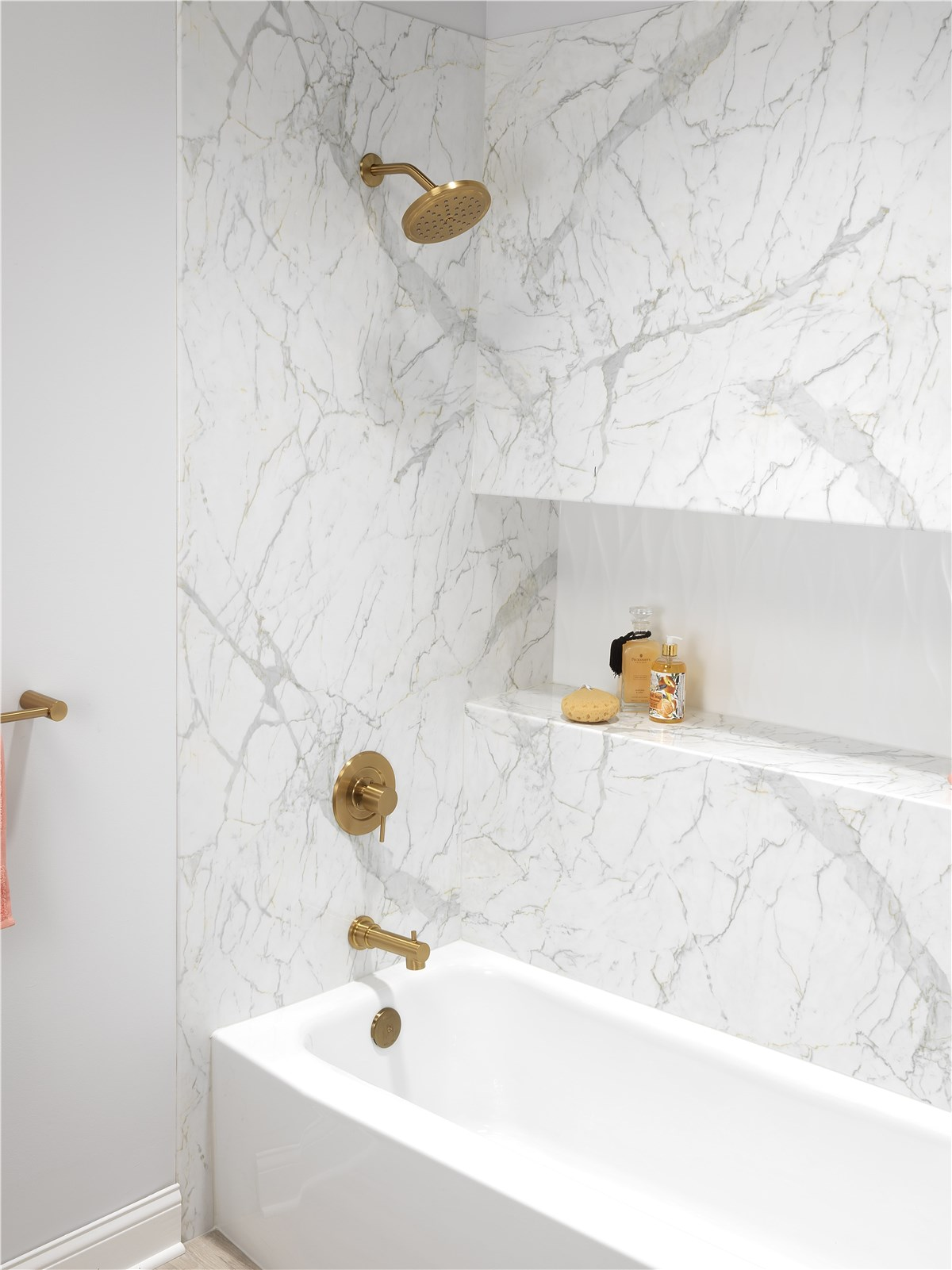 white marble & gold bathroom