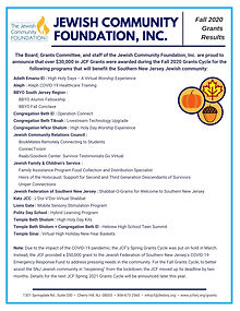 JCF Fall 2020 Grants results flyer p1.jp