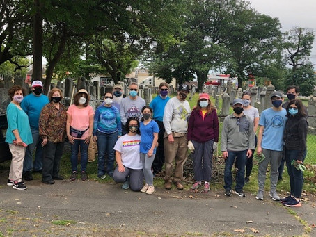 TBS Volunteers Flag Graves and Help Clean up at New Camden Cemetery