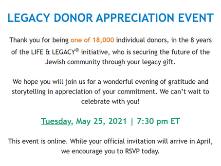 Let's Celebrate!: Legacy Donor Appreciation Event on May 25th