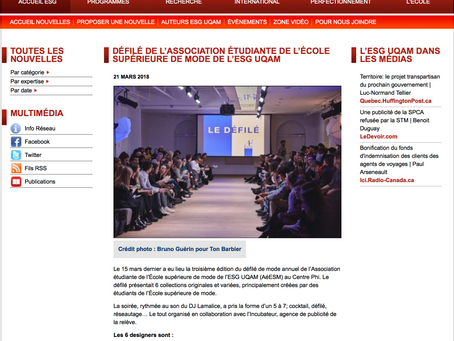 DÉFILÉ DE L'ASSOCIATION ÉTUDIANTE DE L'ÉCOLE SUPÉRIEURE DE MODE DE L'ESG UQAM