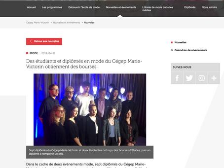 Des étudiants et diplômés en mode du Cégep Marie-Victorin obtiennent des bourses