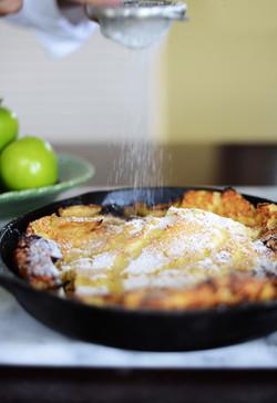 Apple pancake food styling
