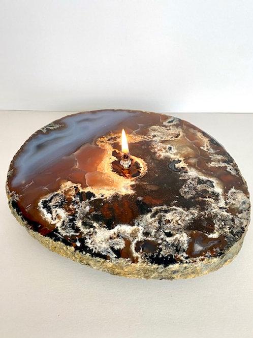Single Wick Agate Crystal Candle -medium