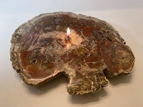 Large Single Wick Petrified Wood Candle
