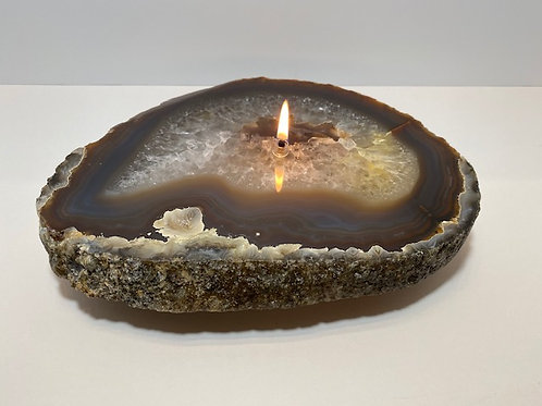 Single Agate Crystal Candle -Large