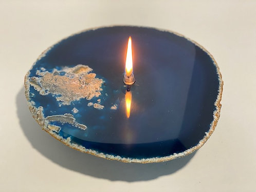 Single Wick Agate Rock Candle -medium