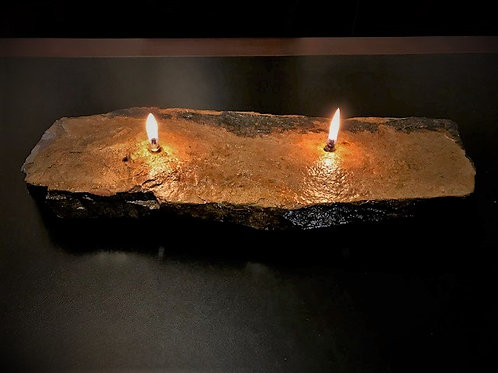 Large Double Wick Rock Candle