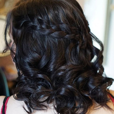 Bridesmaid hair style half up down with