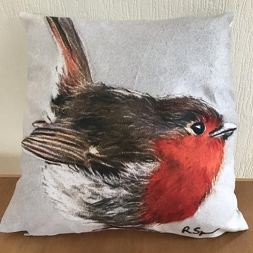 'Robin Red Breast' vegan suede cushion