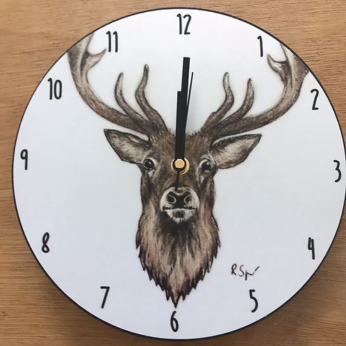 'Stag' wooden clock