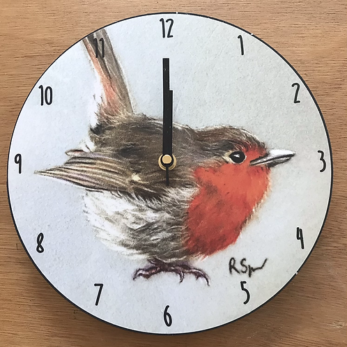 'Robin Red breast' wooden clock