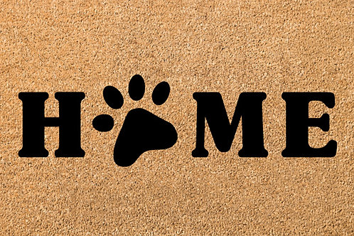 HOME with paw print DOOR MAT