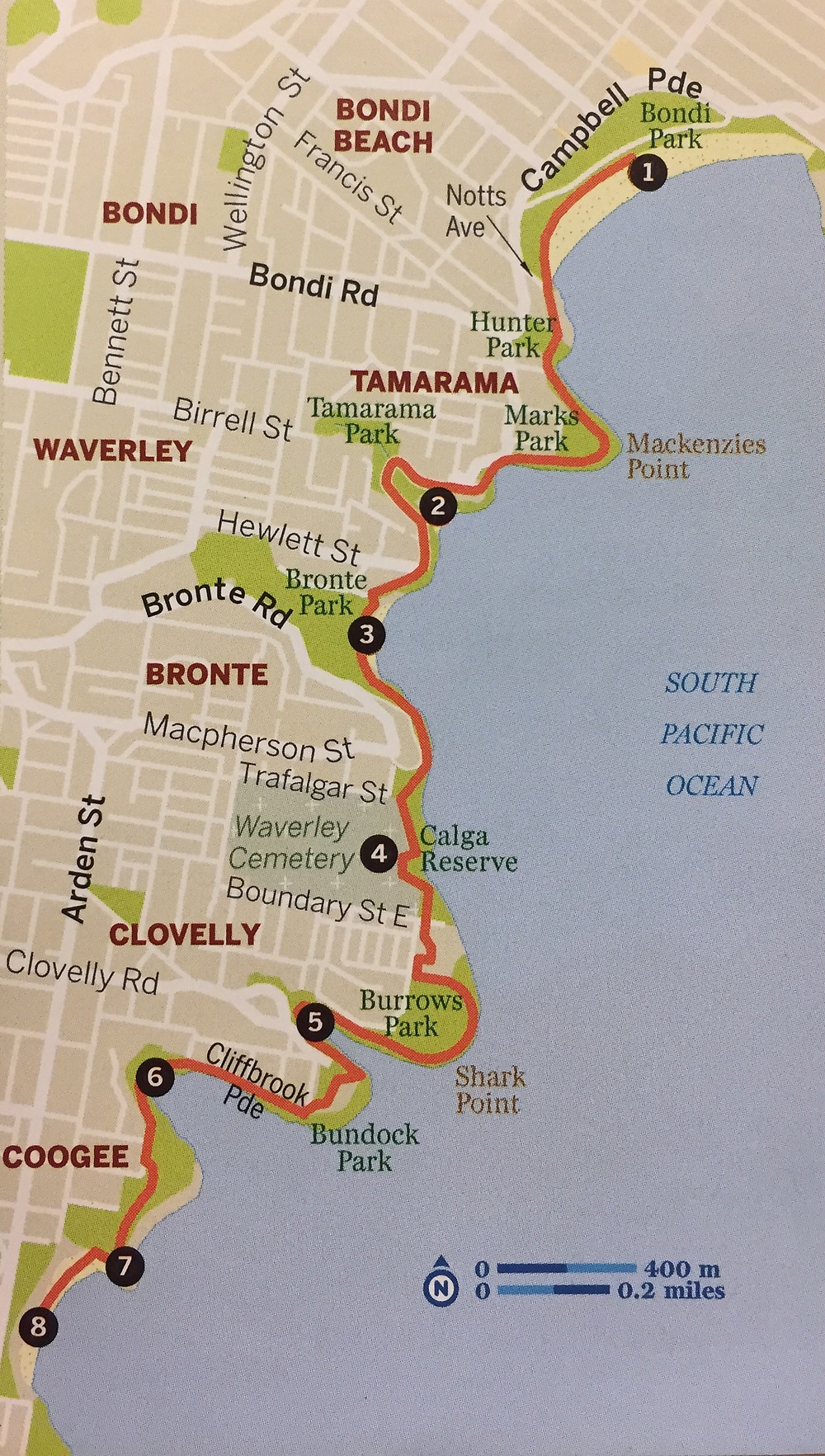 Bondi to Coogee Map, Lonely Planet, Pocket Sydney
