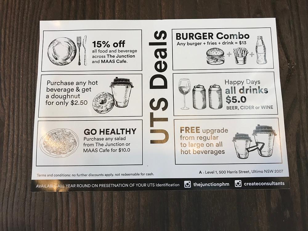 The Junction Cafe UTS Deals