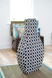 Black and white patterned vase