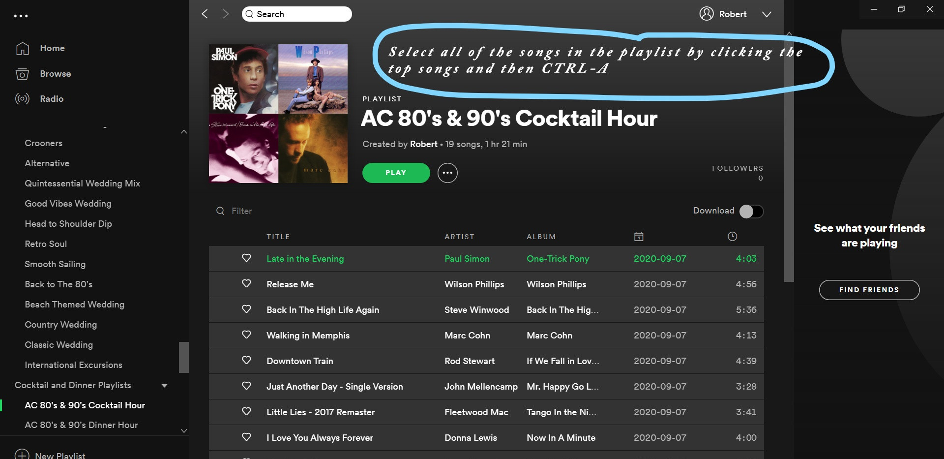Spotify Desktop App Selecting all song from the Playlist