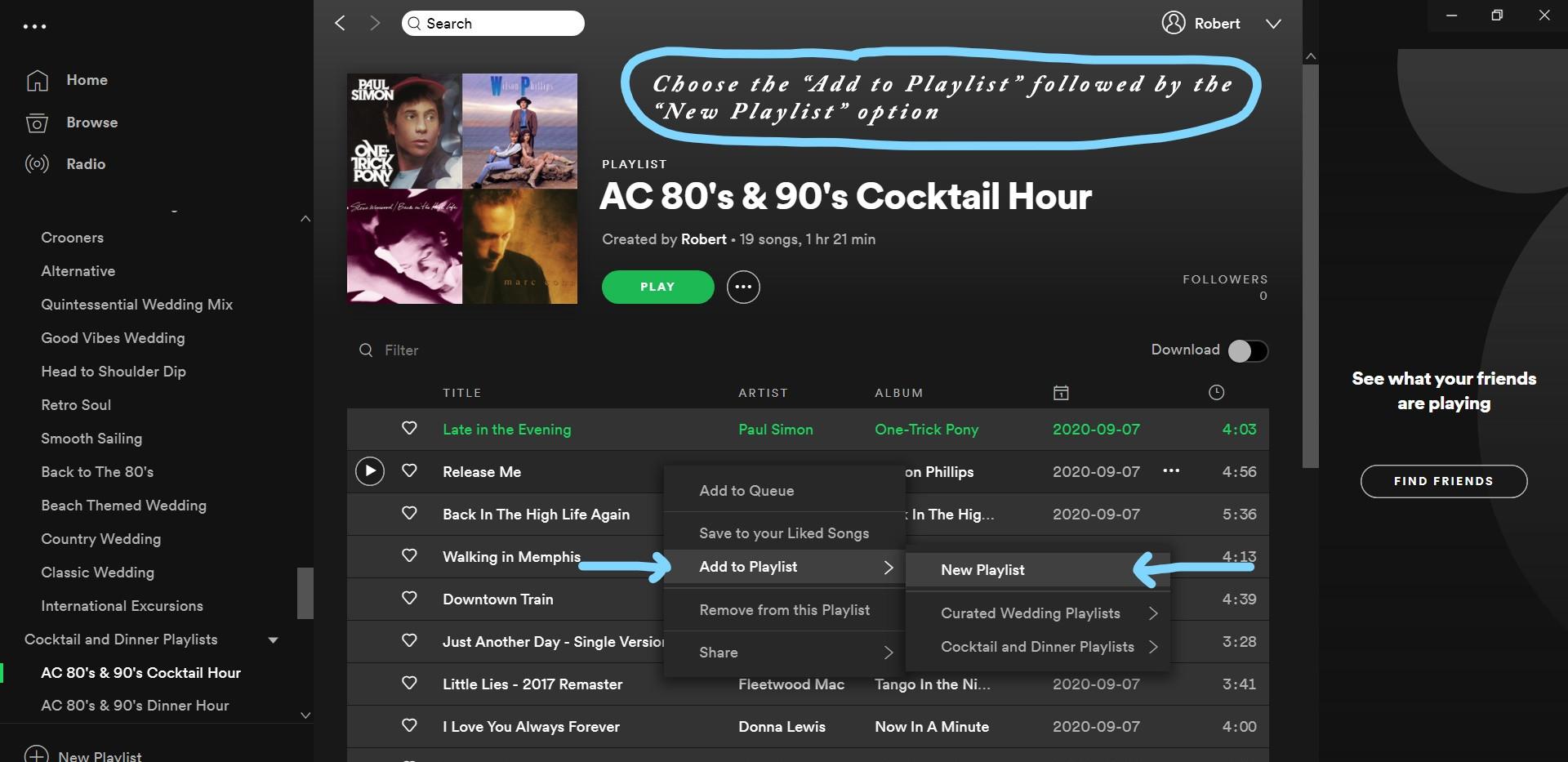 Spotify Desktop App Add to New Playlist Menu
