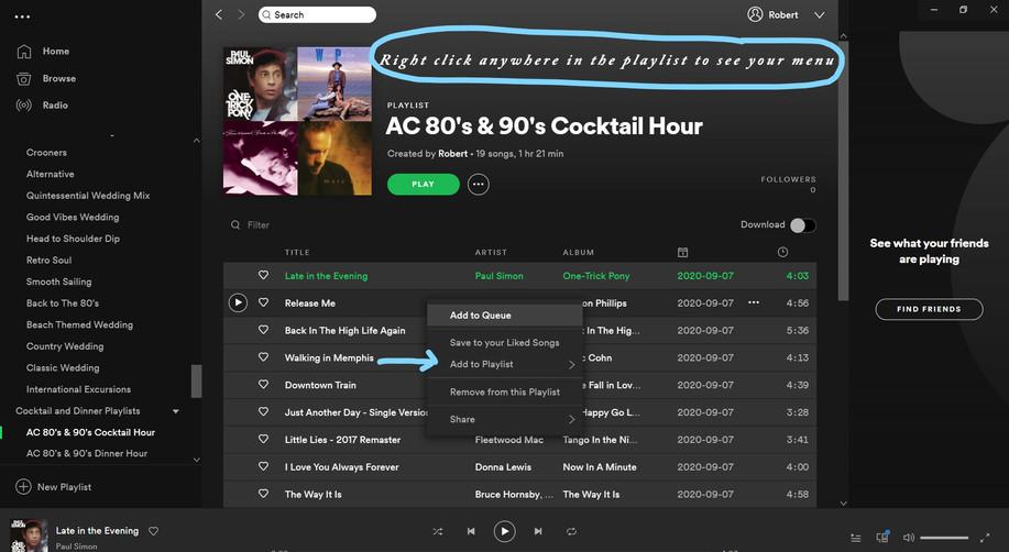 Spotify Desktop App Playlist Menu