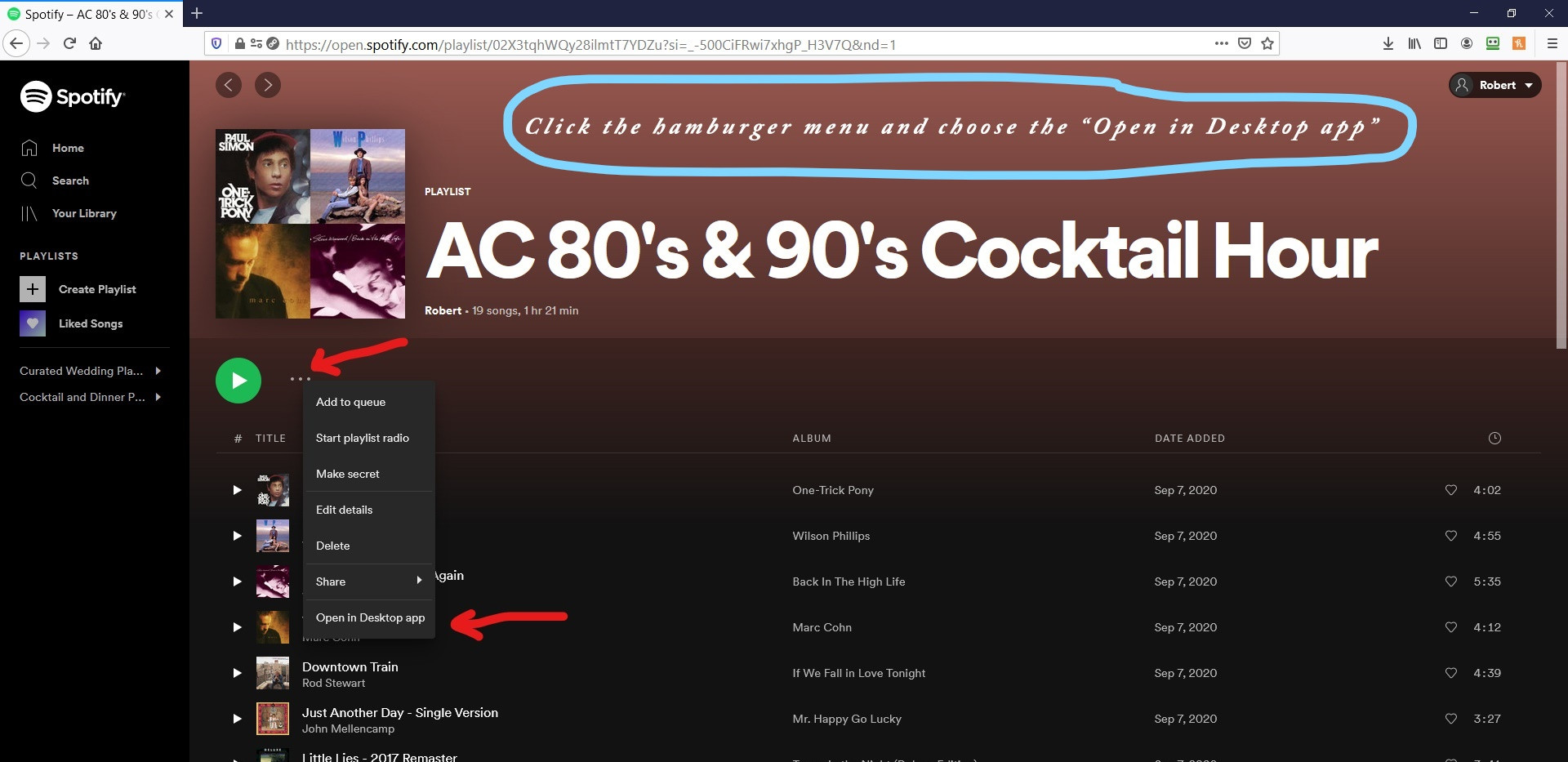 Spotify Website Playlist Page Post-Login
