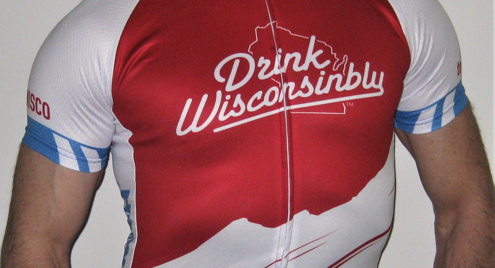 Drink Wisconsinbly Cuctom cycling jersey to support leukemia lymphoma at the Scenic Shore 150 Bike Tour