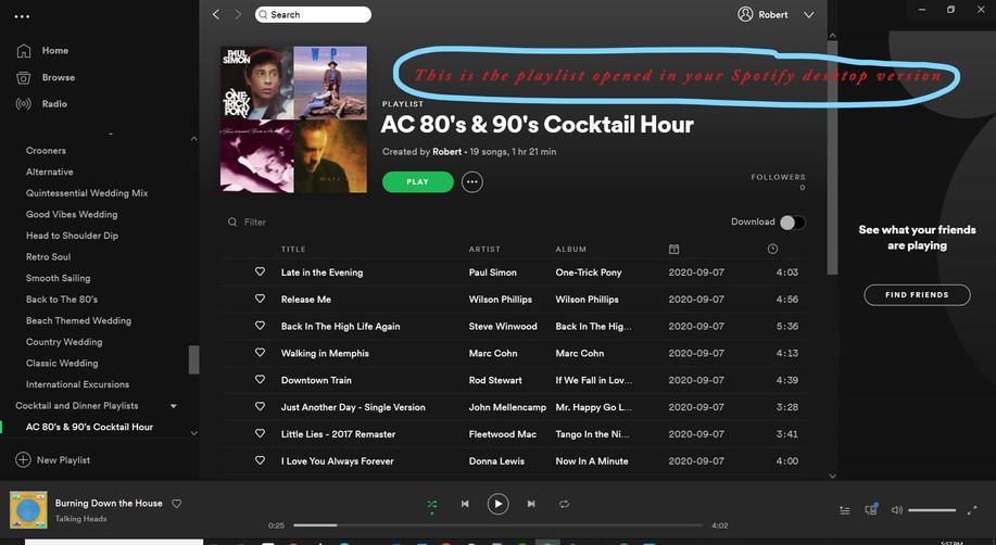 Spotify Desktop App Version of Playlist