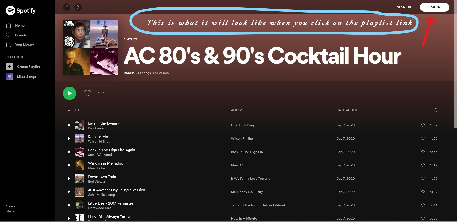 Spotify Website Playlist Page Pre-Login