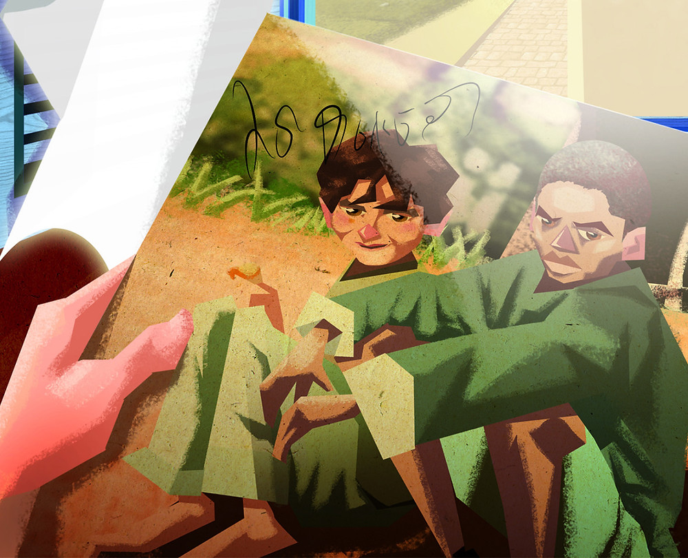 """Ilustração de Leandro Oliveira para o livro """"O Segredo do Disco Perdido"""", de Caio Tozzi e Pedro Ferrarin"""