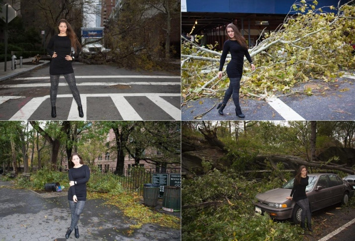 """Nana Gouvêa """"posa"""" em meio aos escombros do furacão Sandy."""