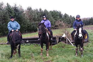 Corballis horse trekking group lesson with Frances, Helen and Pauline