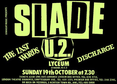 Slade Supported By U2, 19 October 1980