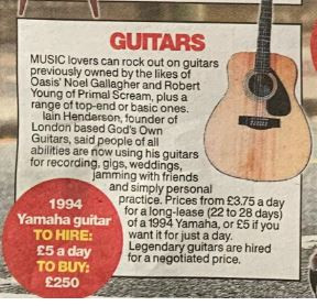 God's Own Guitars, Featured In The Sun