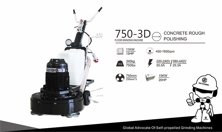 Three head floor grinding machine 750 3D