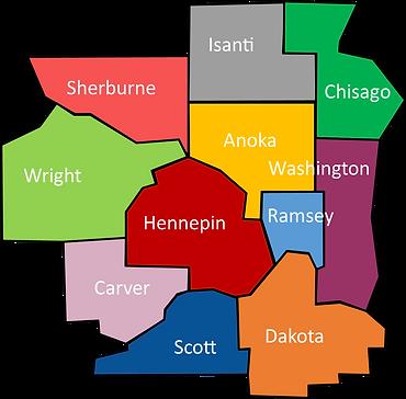 MN counties, hennepin, ramsey, Anoka, Washington, Dakota, dScott, Carver, Wright, Sherburne, Isanti, Chisago