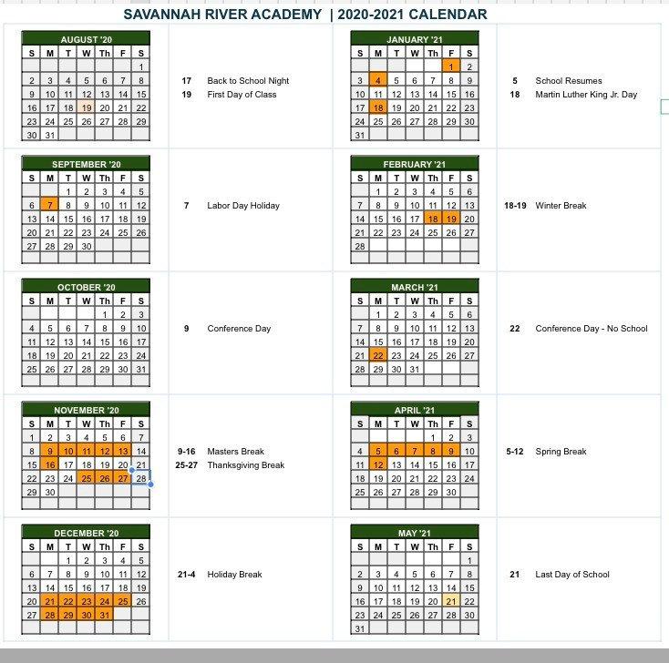 calendar 2020-2021 savannah river academ