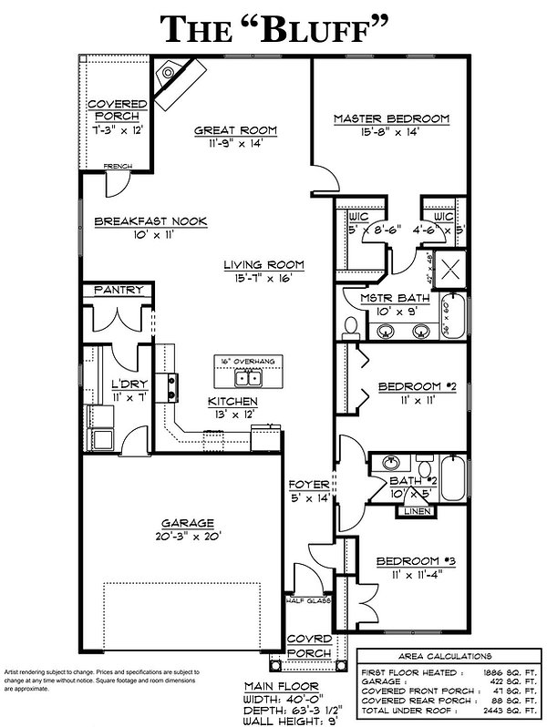Bluff Floor Plan home builder augusta ga