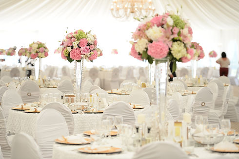 Beautiful flowers on table in wedding da
