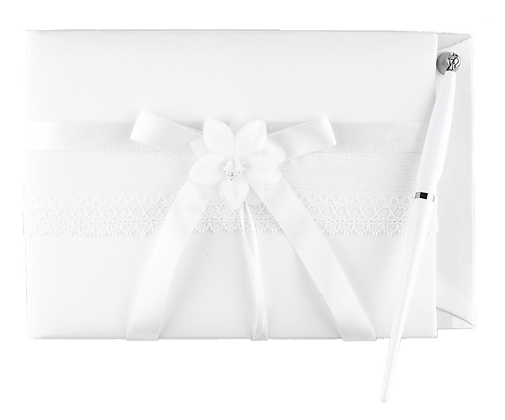 White Wishes Wedding Guest Book and Pen Set