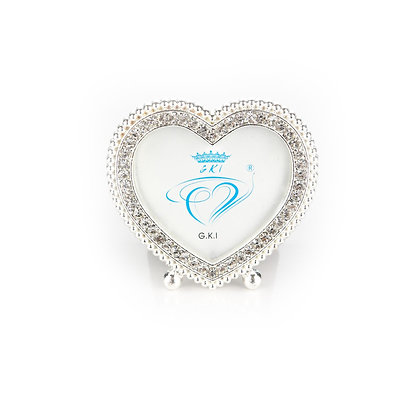 Silver Heart Diamante Photo Frame