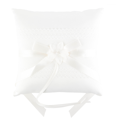 White Wishes Ring Bearer Pillow