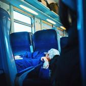 Sleeping women in the train from Casabla