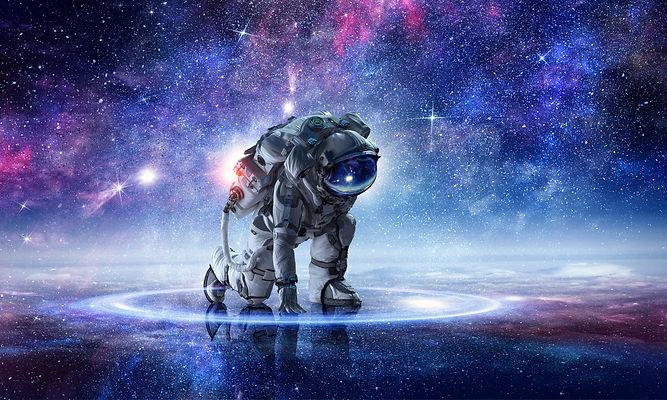 Astronaut starting to run. Mixed media.jpg